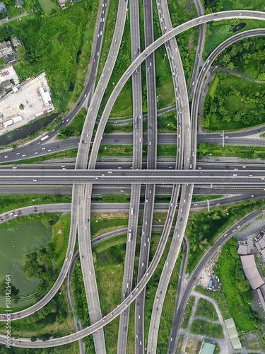 interchange Highway traffic beautiful , Bird Eye View in bangkok - 180425464