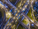 Road beautiful Aerial View of Busy Intersection at Night , top view , thailand . - 180426072