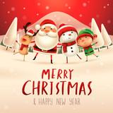 Merry Christmas! Happy Christmas companions. Santa Claus, Snowman, Reindeer and elf in Christmas snow scene. - 180428251