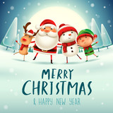 Merry Christmas! Happy Christmas companions in the moonlight. Santa Claus, Snowman, Reindeer and elf in Christmas snow scene.  - 180428256