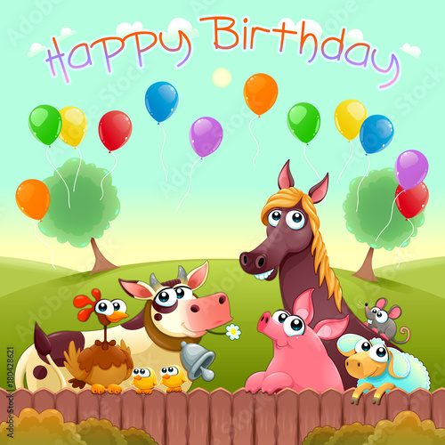Foto op Canvas Kinderkamer Happy Birthday card with cute farm animals in the countryside
