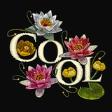 Embroidery water lily flowers. Cool slogan. Classical embroidery lotus and white, pink and yellow water lilies, template fashionable clothes, t-shirt design, print art - 180430088