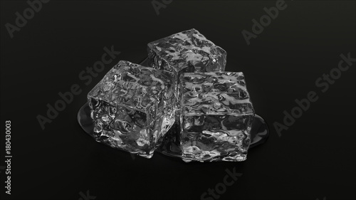 © PixlMakr - Fotolia.com Three ice cubes on black background