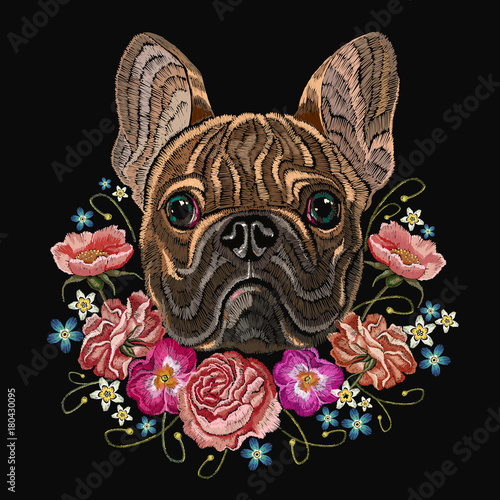 Classical embroidery head bulldog, rose, peonies, fashionable design for clothes, t-shirt design. Embroidery french bulldog and beautiful bouquet of flowers - 180430095