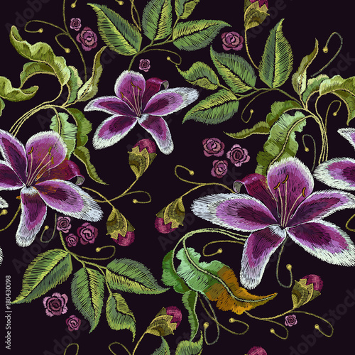 Embroidery blue orchid exotic tropical flowers seamless pattern. Beautiful classical embroidery, summer violet orchids flowers pattern. Template for clothes, embroideries, t-shirt design - 180430098
