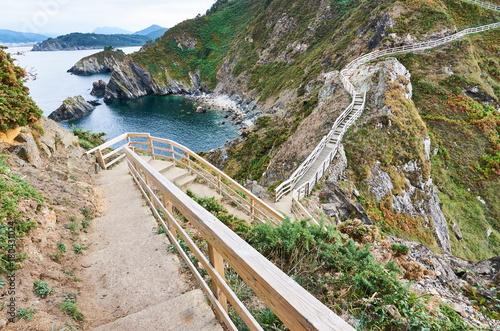 """Stairs to the cape known as """"O fuciño do porco"""" in Viveiro, Lugo, Spain"""