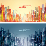 Night and day city skyline, vector illustration