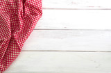 The Crumpled red checkered tablecloth or napkin on empty white wooden table with copy space for food cooking  menu background concept , top view or overhead shot - 180437891