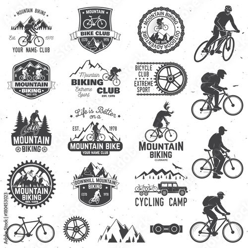 Fotobehang Hipster Hert Mountain biking collection. Vector illustration.