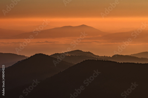 Fotobehang Chocoladebruin Misty mountain landscape in the morning, Poland
