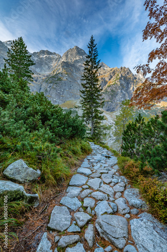Tatra mountains, footpath near Morskie Oko lake, fall morning, Poland