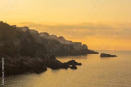 Fotobehang Meloen Montenegro, city of Ulcinj, the month of October, the Adriatic coast, dawn, view of the old fortress.