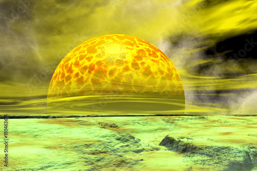 Plexiglas Geel Fantasy alien planet. Rocks and sky. 3D rendering