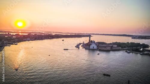 Fotobehang Zee zonsondergang Venice Italy from above