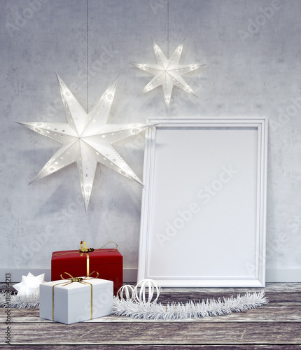 Interior Christmas decoration with white frame 3D Rendering | Buy ...