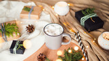 cup of coffee marshmallow winter still life