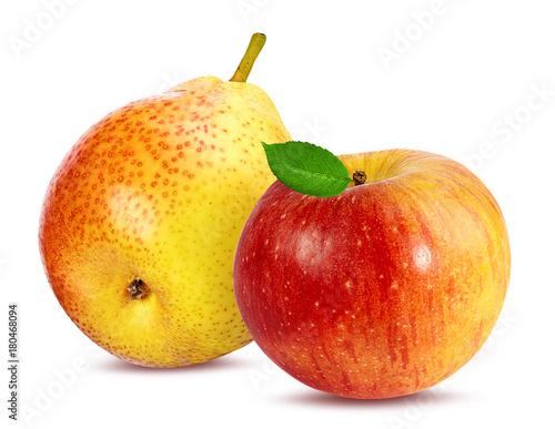 Świeży jabłko i bonkreta odizolowywający na białym tle z ścinek ścieżką