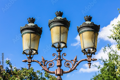 Traditional vintage street lantern (lamppost) on the Cite Island (Ile de la Cite) in Paris. France