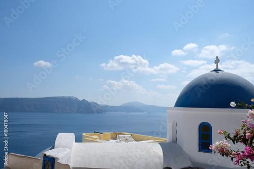 Fotobehang Santorini bleu
