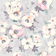 Soft Watercolor Like Floral Print  Seamless  Sticker