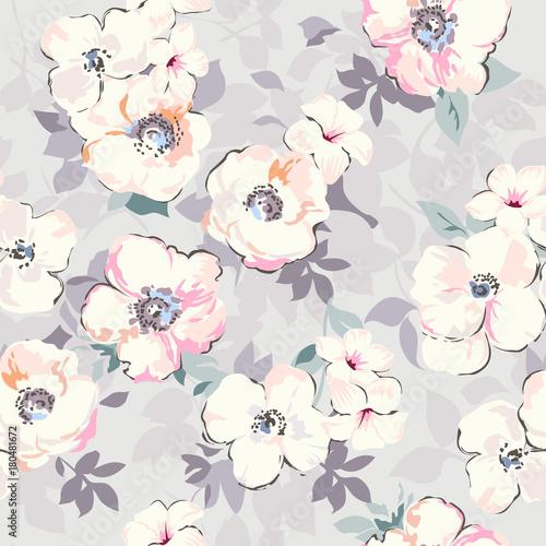 miękka akwarela jak kwiatowy print ~ bezszwowe tło