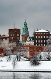 Historic royal Wawel Cathedral and castle in Cracow, Poland, on a cloudy day in winter - 180481806