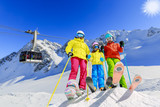 Happy family enjoying winter vacations in mountains. Playing with snow, Sun in high mountains. Winter holidays. - 180482298