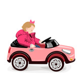 vector illustration with girl in a red jacket sitting in a pink toy car