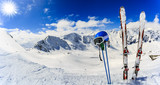 Ski in winter season, mountains and ski touring backcountry equipments on the top of snowy mountains in sunny day. South Tirol, Solda in Italy. - 180483455