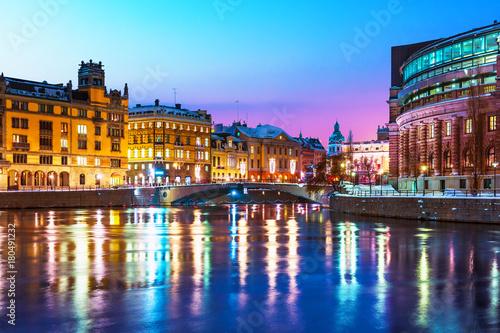 Aluminium Stockholm Winter night scenery of Stockholm, Sweden