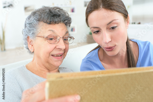 health care nurse with elderly ladyswith caring attitude Poster