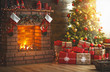 interior christmas. magic glowing tree, fireplace, gifts