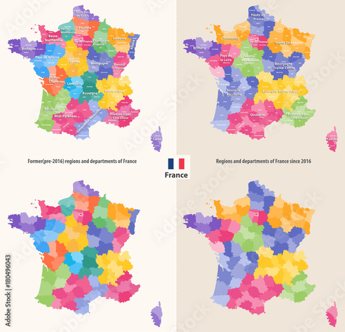 administrative regions and departments of France vector map   Buy ...