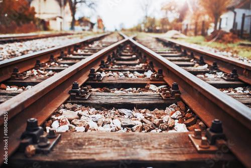 Train tracks, railroad. Transportation concept Poster