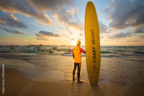 Lifeguard on a duty on the beach of Sri Lanka