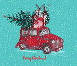 Fototapety Festive Christmas card. Red taxi cab with fir tree decorated red balls and gifts on roof. White snowy seamless background and text Merry Christmas