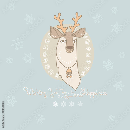 Aluminium Hipster Hert Vector Christmas greeting card with cute deer and snowflakes.