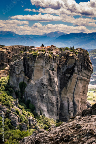 Fotobehang Cappuccino Meteora, Monasteries on Huge Rocks, near Kalabaka in Greece