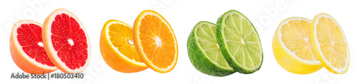 Citrus Fruit Set (orange, grapefruit, lime, lemon) isolated on white background. - 180503410