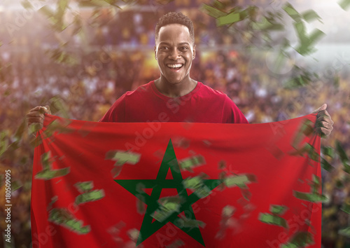 Canvas Marokko Fan / Sport Player holding the flag of Morocco