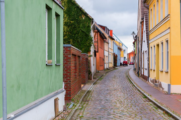 road with old buildings in Wolgast, Germany