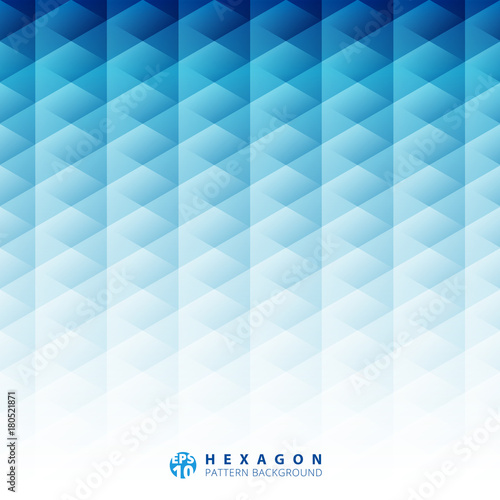 Abstract geometric hexagon pattern blue background, Creative design templates © phochi