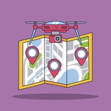 drone with camera and map city navigation vector illustration - 180524681