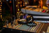 Dj mixer with headphones at party - 180528024