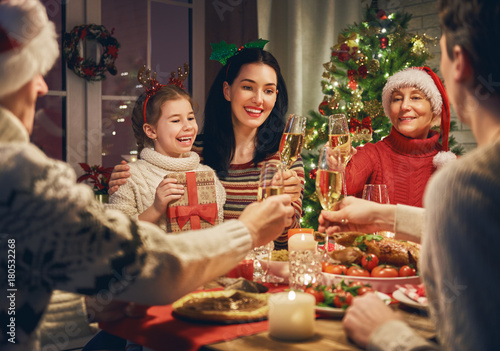 Family celebrates Christmas. - 180532268