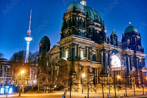 Aluminium Berlijn Berlin Cathedral or Berliner Dom at night, Berlin ,Germany