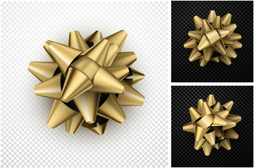 Realistic golden bow for gift.