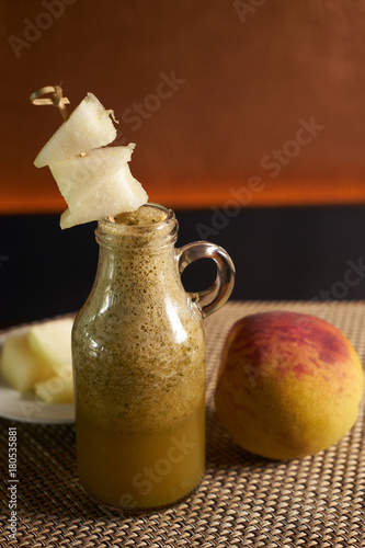 Fresh fruit smoothie with peach and melon - 180535881