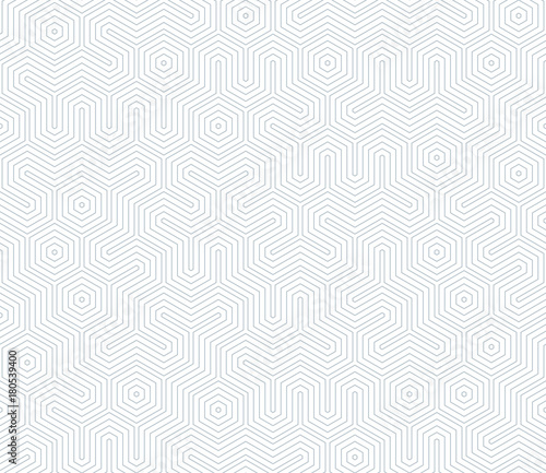 Seamless geometric pattern with hexagons and lines. Irregular structure for fabric print. Monochrome abstract background. - 180539400