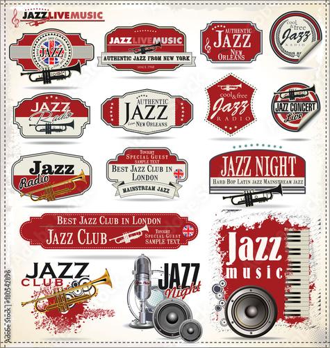Fotobehang Muziek Jazz music badge collection